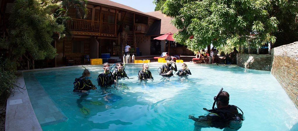 padi open water referral course pool sessions asia divers puerto galera