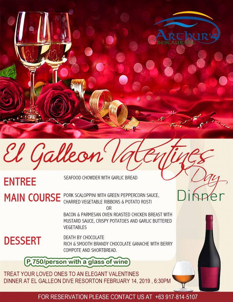 valentines day dinner el galleon resort puerto galera