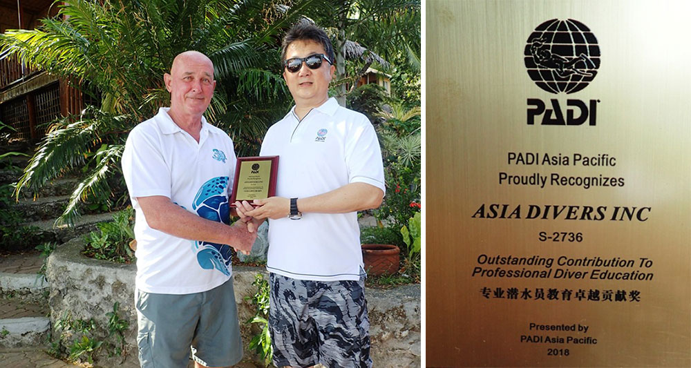 asia divers padi outstanding contribution award 2019