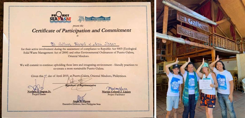 save the philippine seas certificate el galleon beach resort