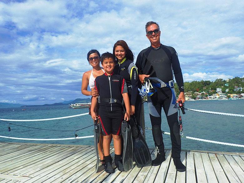archer family at el galleon dive resort puerto galera