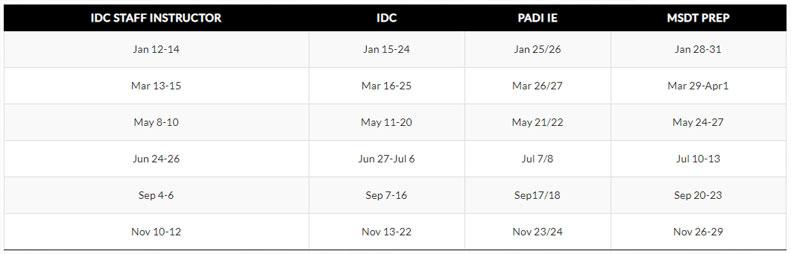 padi idc schedule 2019 asia divers puerto galera