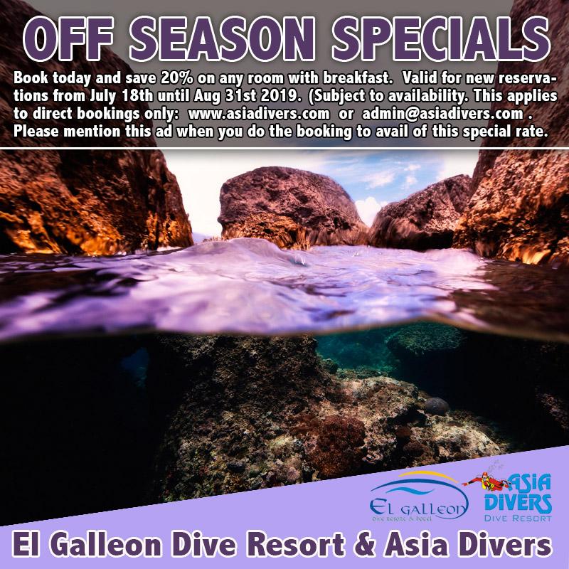 el galleon dive resort puerto galera off season special offer